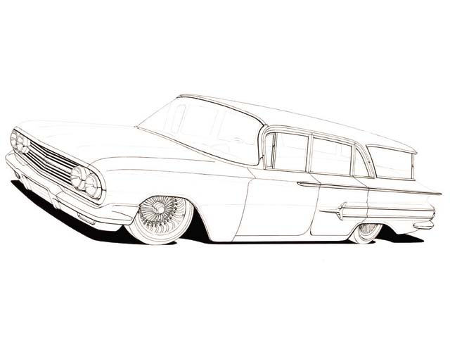 64 Chevy Impala Lowrider Coloring Pages Sketch Coloring Page