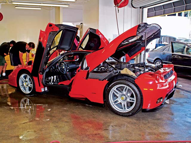 The Enzo Ferrari, as seen with its brains blown out.