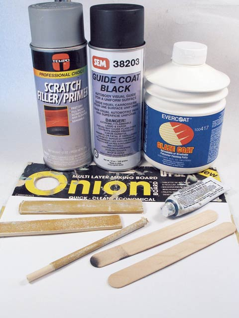 With your chores done, cash in on Tempo Professional Choice scratch filler/primer, SEM 38203 guide coat black and Evercoat Glaze Coat spreadable or brushable polyester finishing putty (you can't wear this stuff). Also pick up Onion multi-layer mixing board, 80- and 180-grit sanding sticks and files, in addition to a tube of mixing hardener.