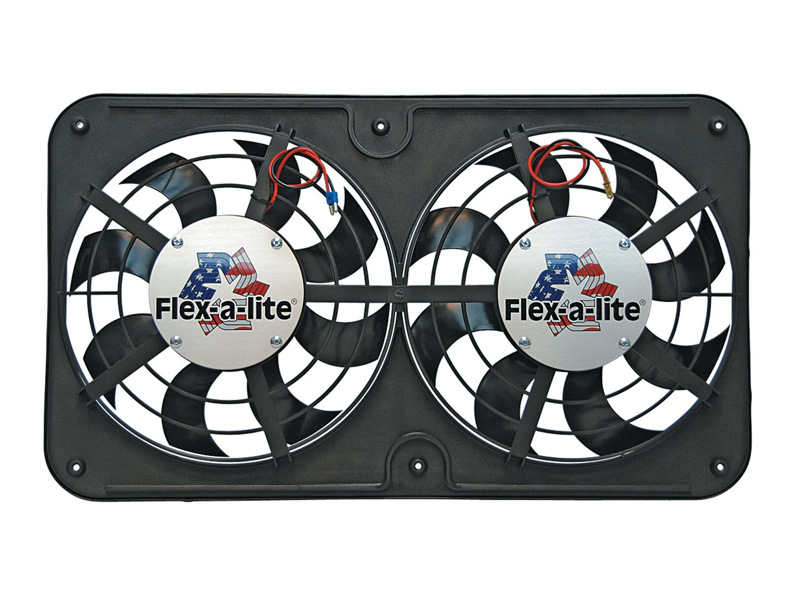 Flex-A-Lite's newest line of Low Profile Dual S-Blade fan system comes in its own shroud and dual 121/8-inch diameter fans featuring Flex-A-Lite's S-Blade design. The dual fan systems flow 2500 CFM of air and are available in