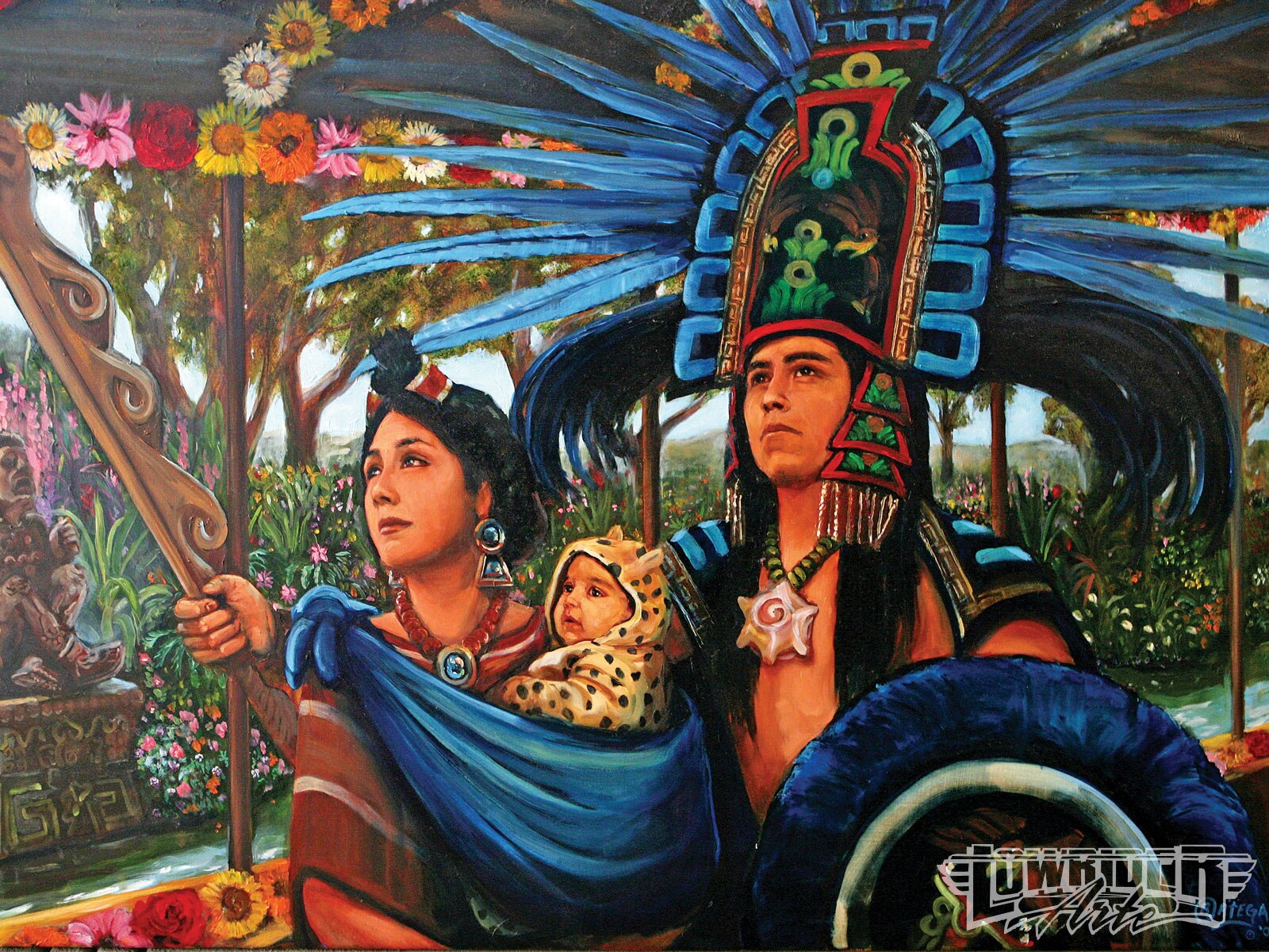 Featured artist ricardo ortega painting mexico 39 s past for Mural una familia chicana