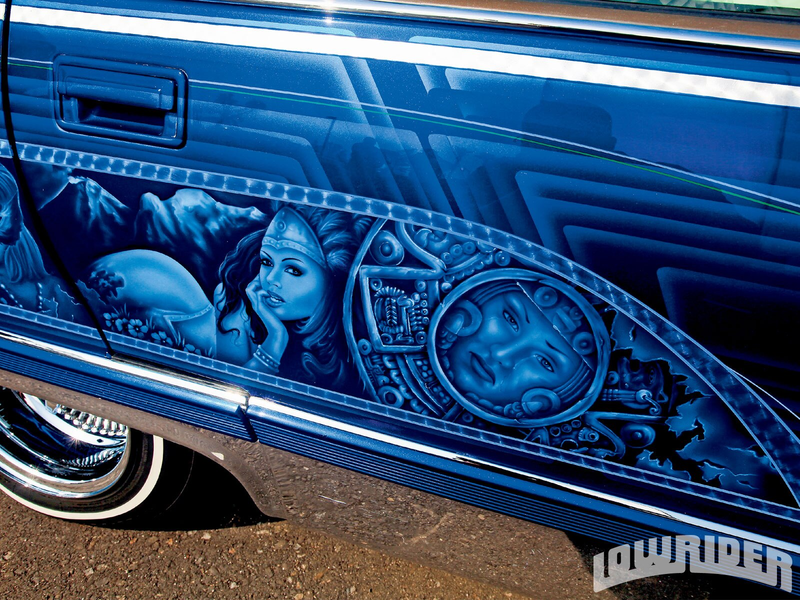 1994 cadillac fleetwood lowrider magazine for Best mural paint