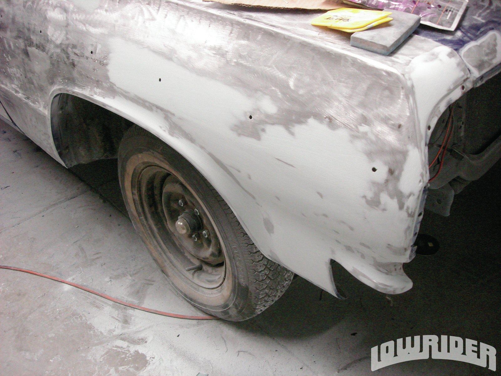 10 Once the bodywork was finished, it was sealed with primer for its final block.