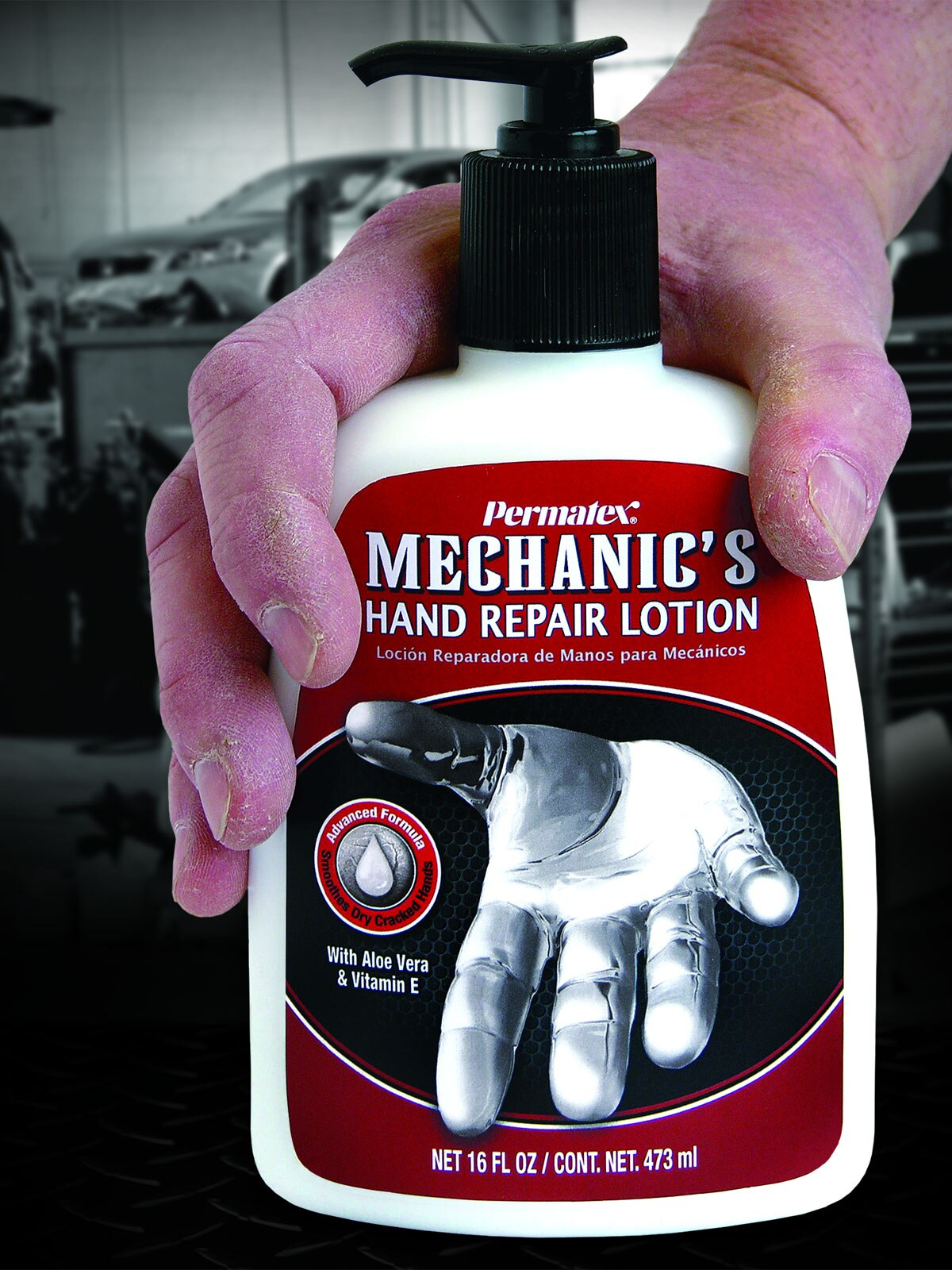 Permatex Mechanic's Hand Repair Lotion rejuvenates, soothes, and repairs damage to hard working hands.