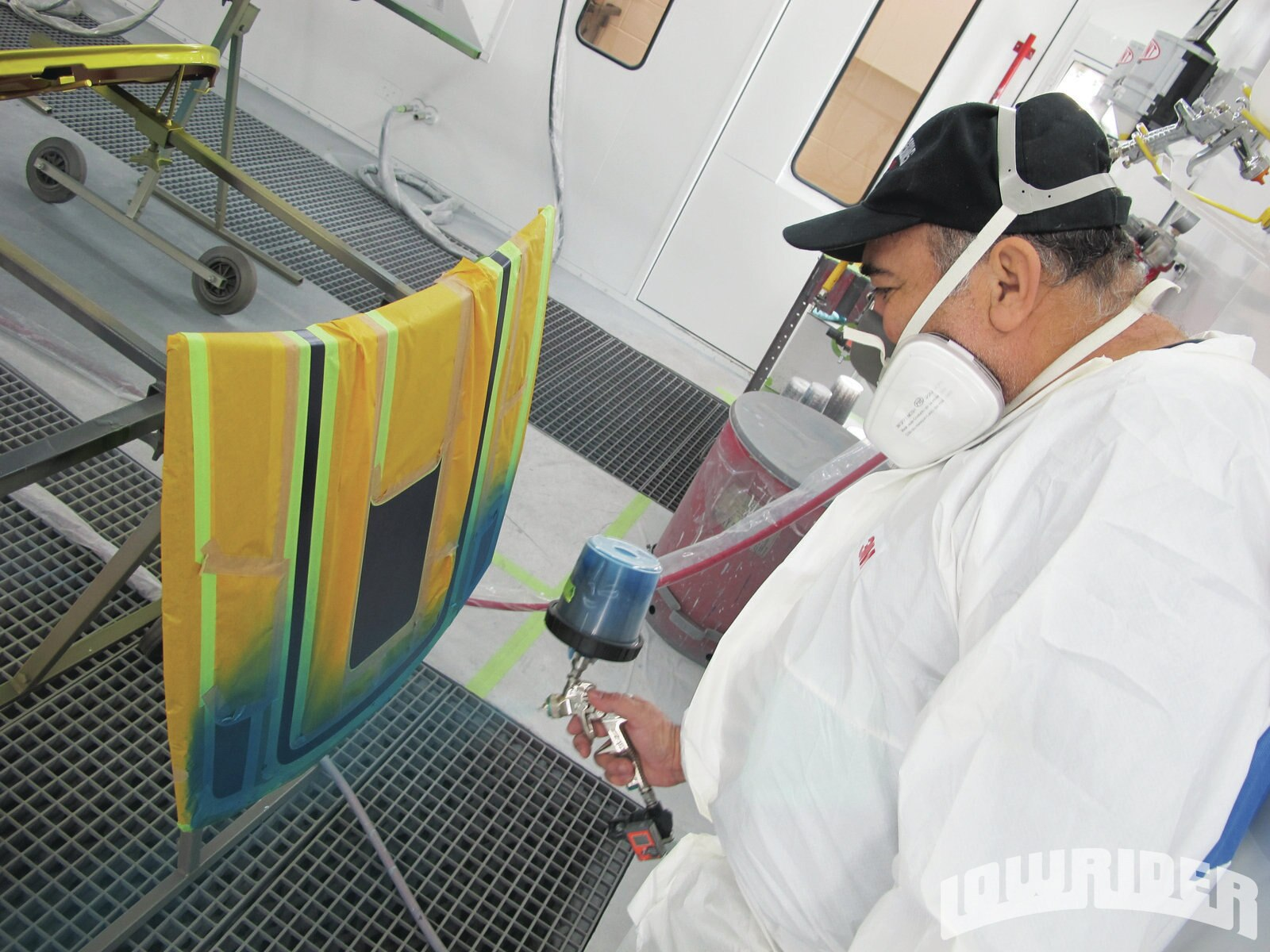 <strong>11</strong>. The spraying was done in the high-tech, down draft booth.