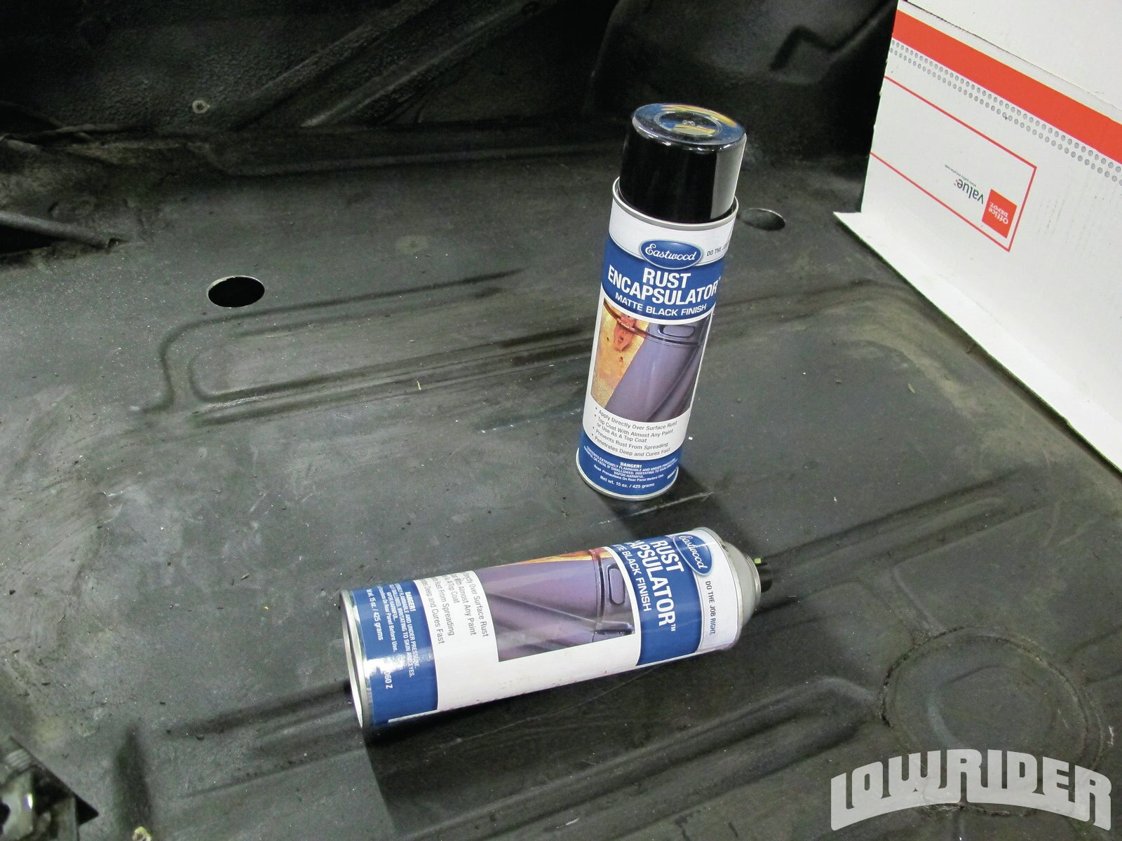 <strong>18</strong>. Before we did the final assembly, we used some Eastwood paint to clean up the trunk of the Eldo.