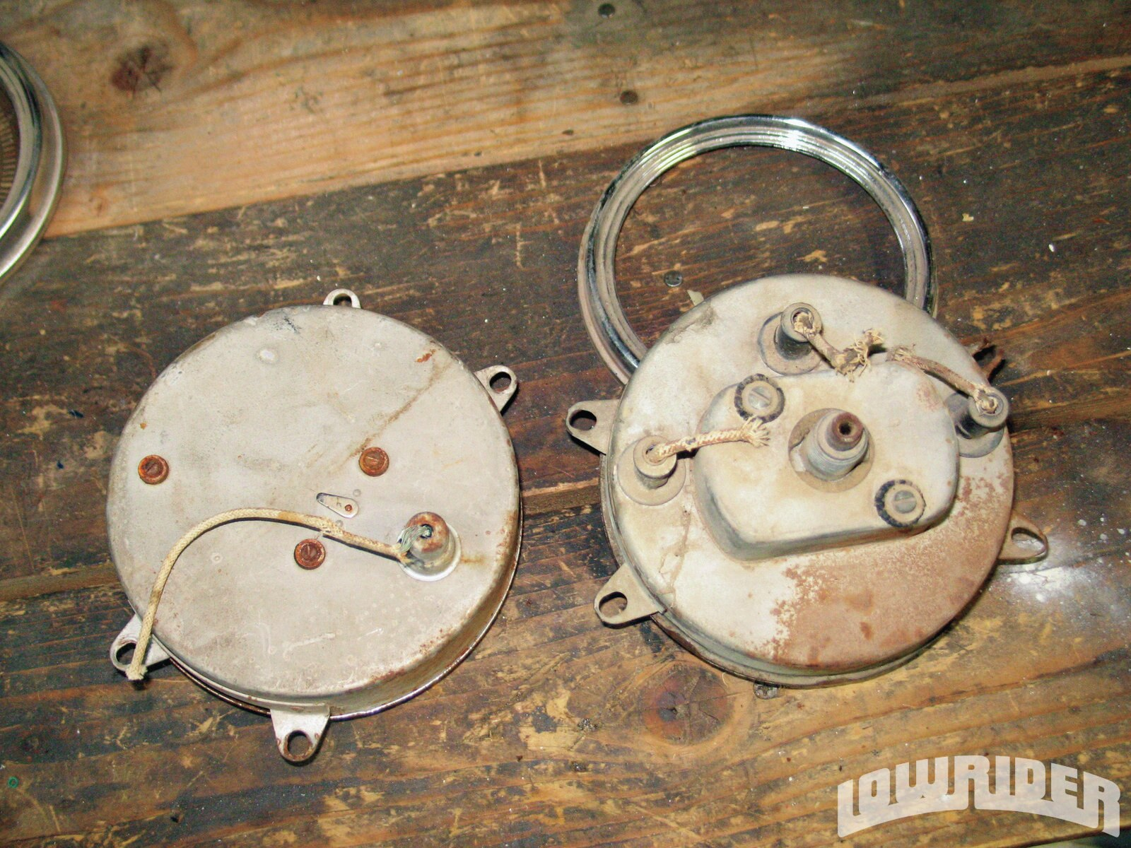<strong>12-13</strong>. About the only telltale way these gauges are more than prettied-up old ones is from the backside—no longer are there any fragile copper sending unit lines or frayed cloth-covered wire!