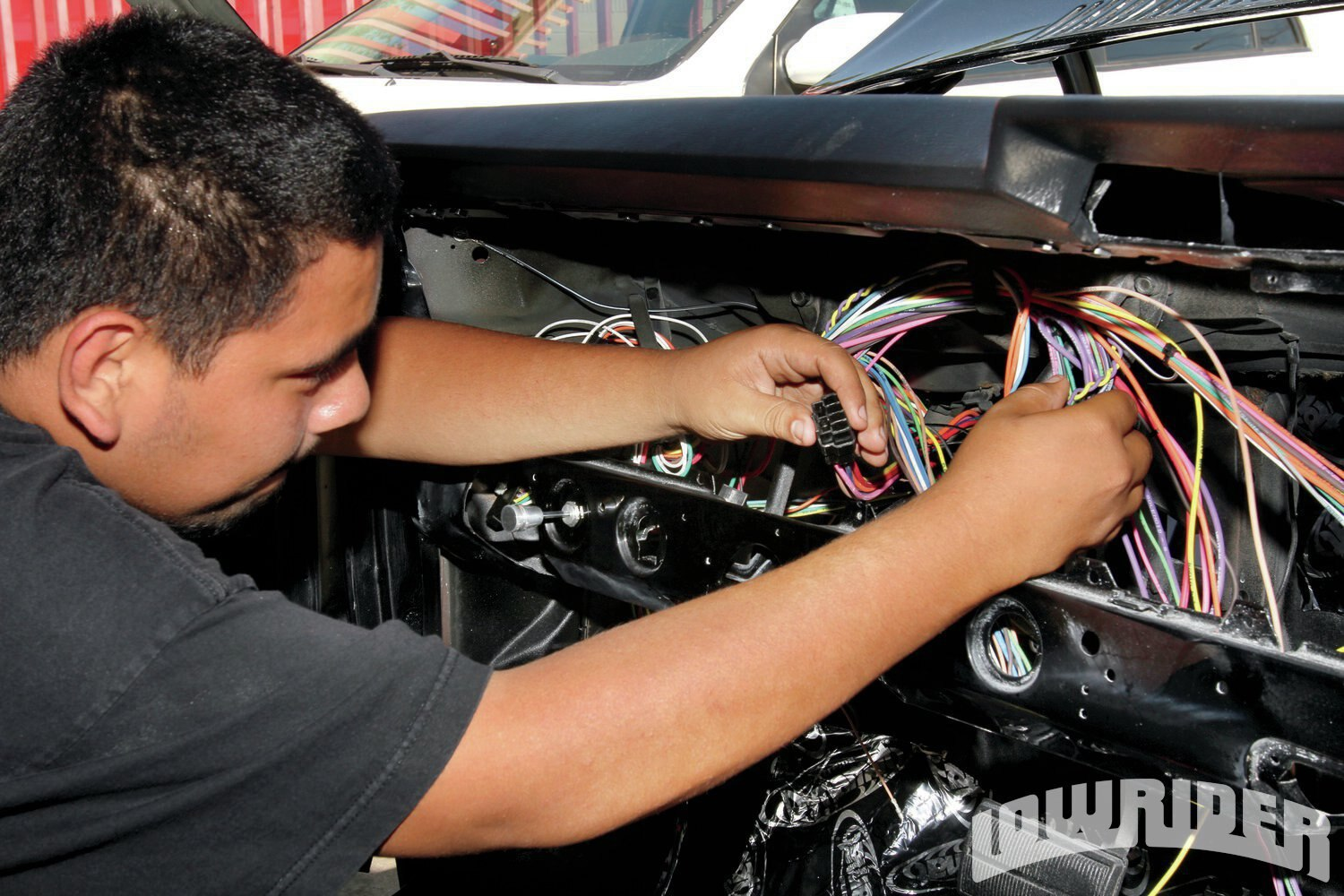 american autowire install lowrider magazine the dash harness items were all made