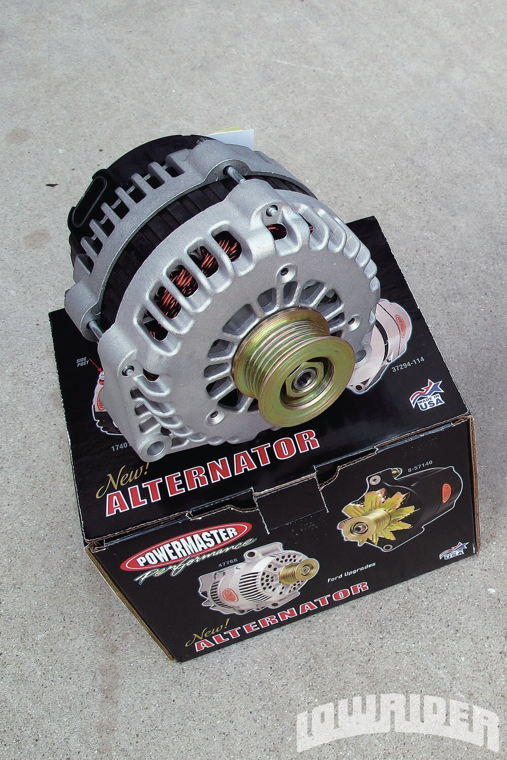 <strong>1</strong>. This Powermaster Performance alternator is going to give our engine high amperage power for all of our electrical accessories.