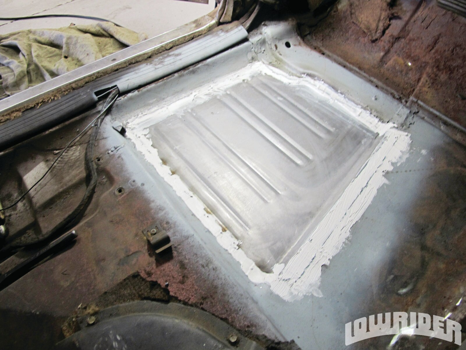 <strong>20</strong>. The patch panel was left to dry from the seam sealer before adding a protective coat of paint.