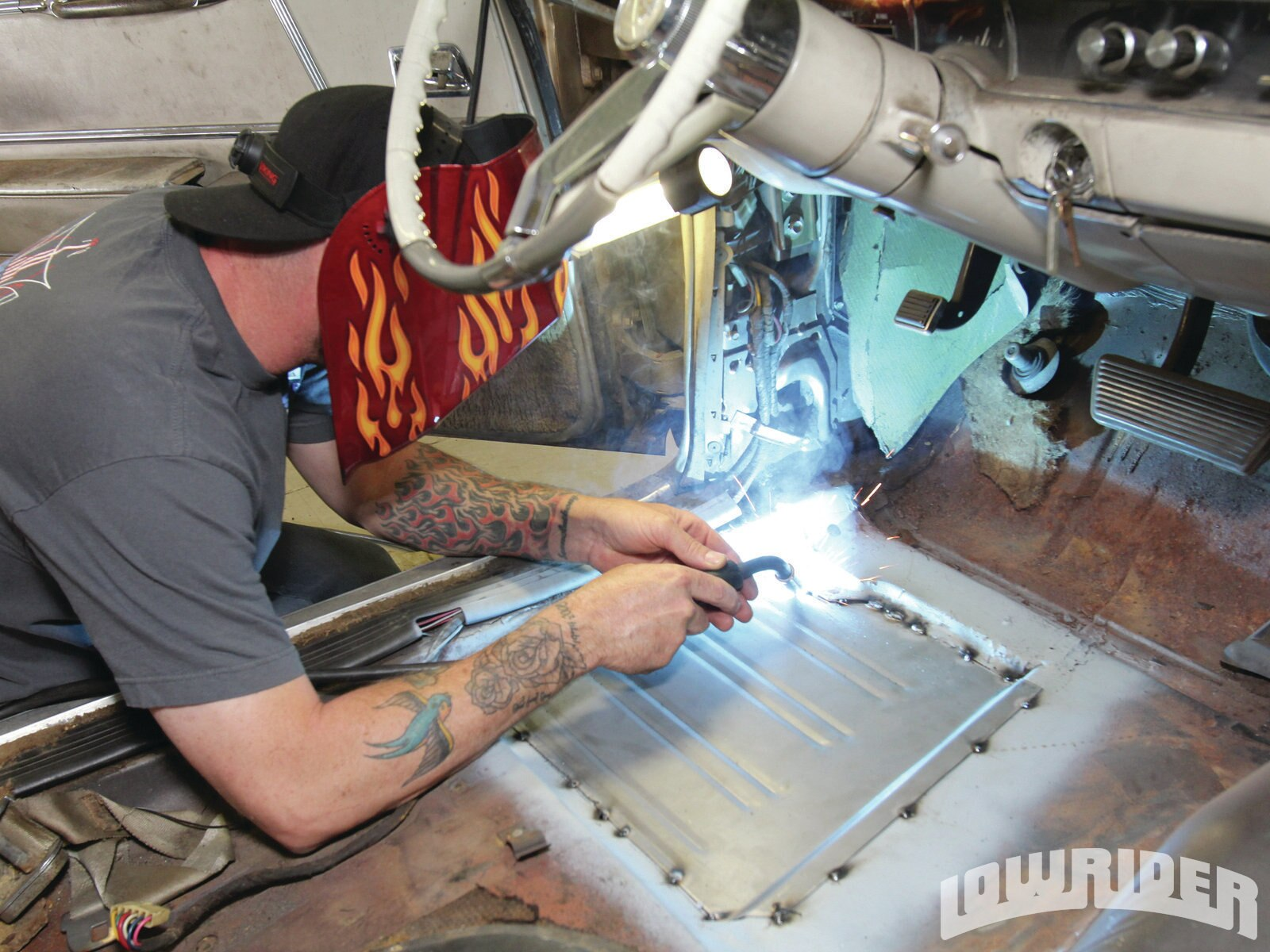 <strong>15</strong>. Jason started to stitch weld the panel in place.