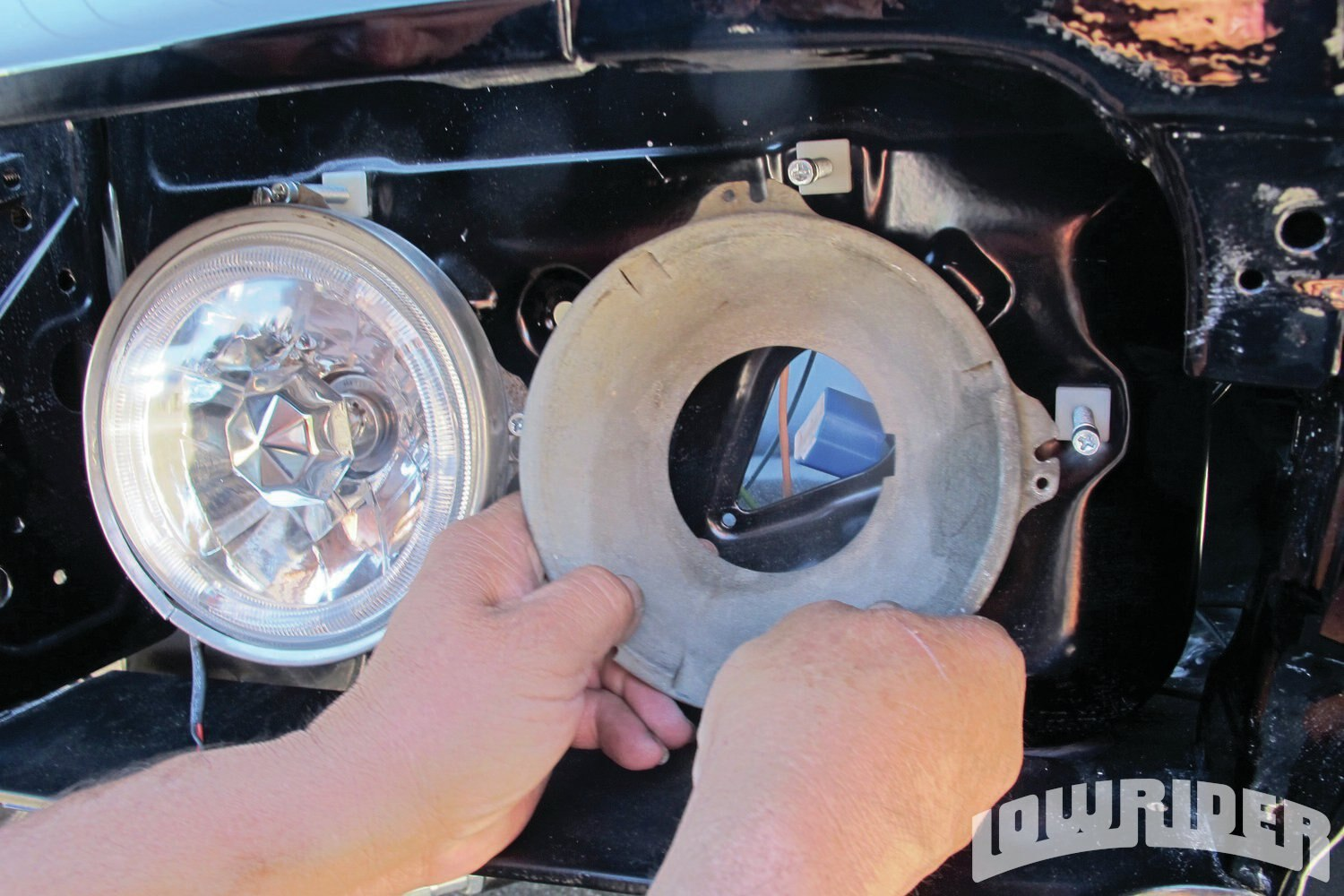 <strong>11</strong>. The stock bases accommodated the new headlights that drop right in.