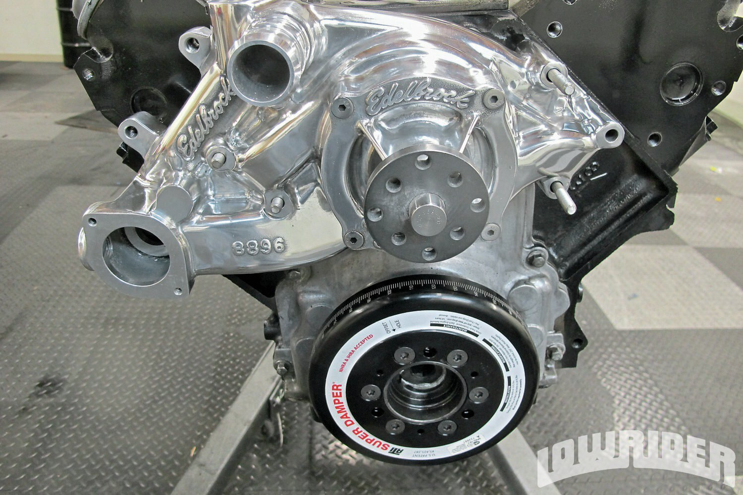 <strong>8</strong>. The Edelbrock high flow water pump serves as one of the main components to the pulley system.