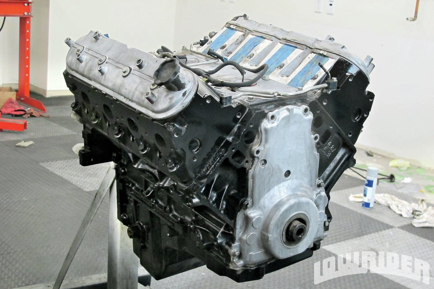 <strong>2</strong>. This low-mileage 5.3 engine block had been tested and was ready for us to mock up the restomod pulley system.