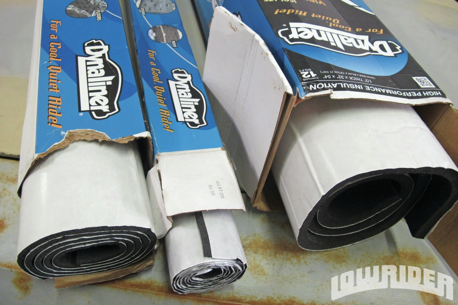 <strong>17</strong>.Dynamat's Dynaliner comes in a couple of thickness options. For our roof, we decided to use 1/8-inch thick insulation.