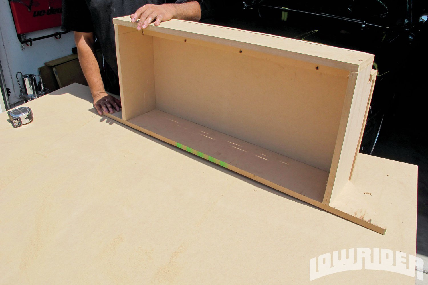 <strong>2</strong>. We started off by building the speaker box which will be a focal point of the trunk.