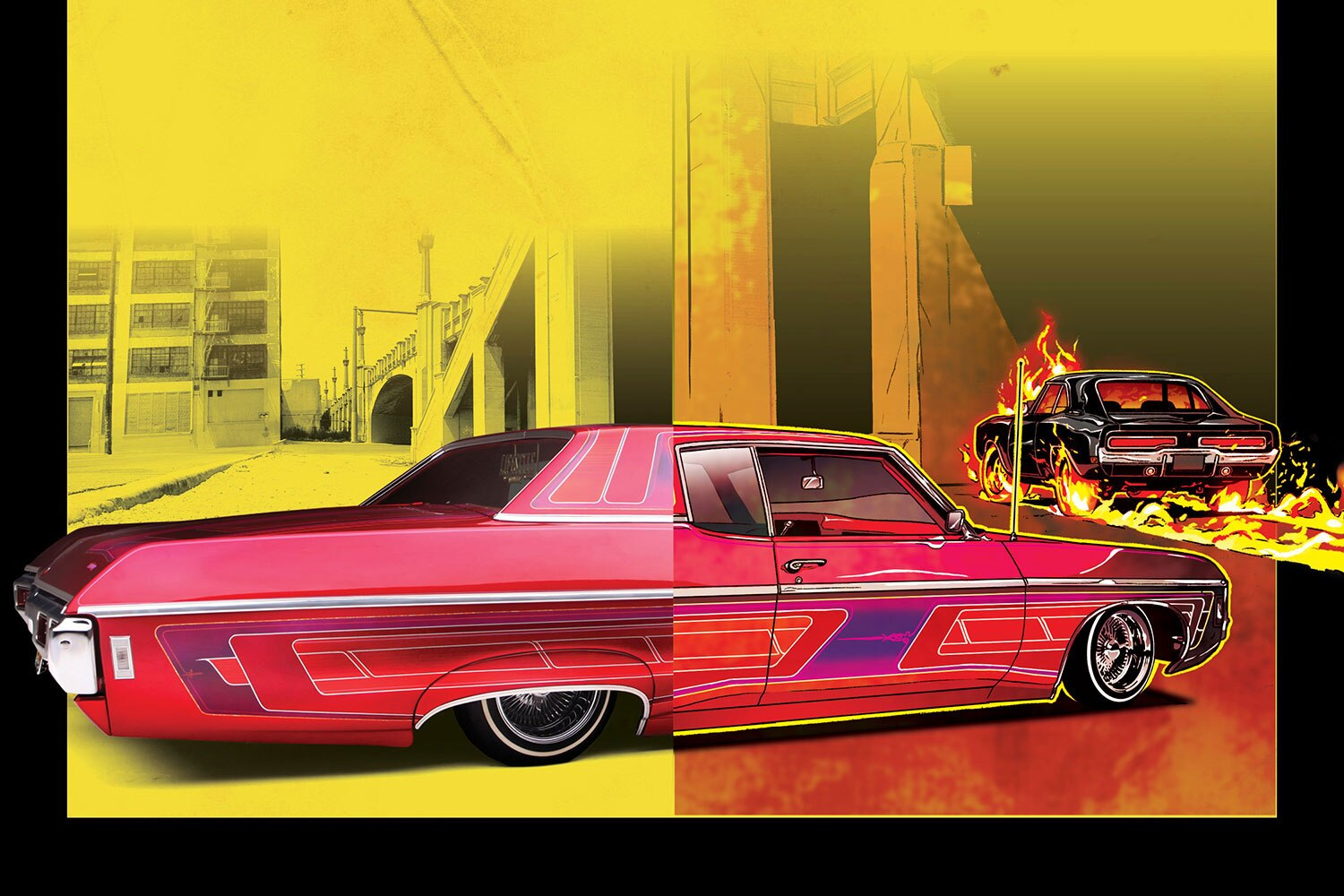 <center>Our '69 Caprice Cover Car with the new Ghost Rider's '69 Charger</center>