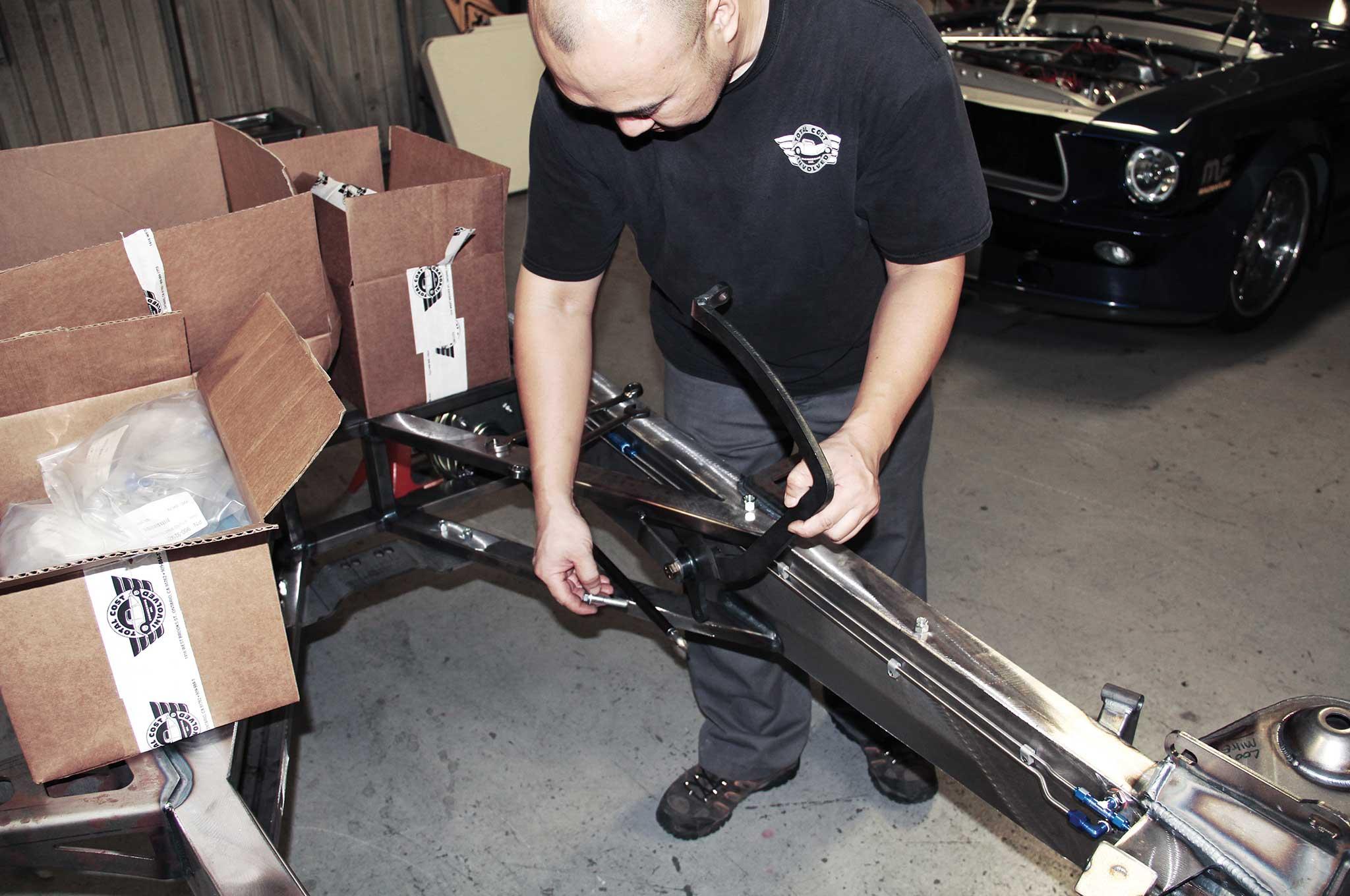 002 assembling a tci truck frame foot brake pedal bracket install