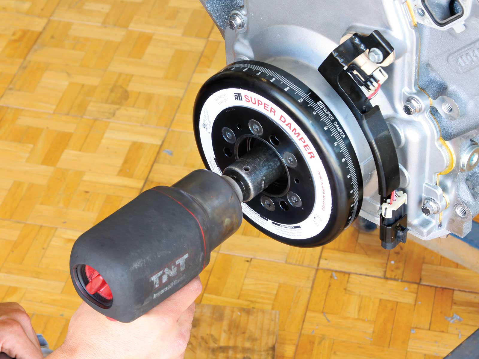 eddie motorsport s drive pulley system ati super damper install 002