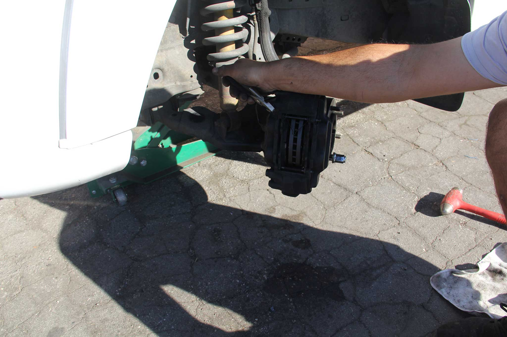 ebc brakes gd rotor and truck pad install pad install 007