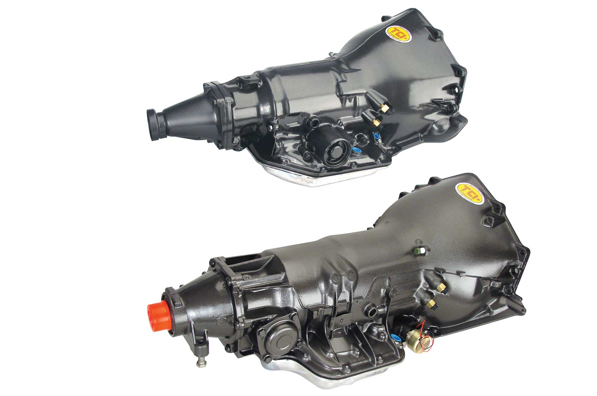 The Turbo 350 (top) and the Turbo 400 (bottom) are the quintessential GM automatic transmissions. Both are three-speeds, but the Turbo 400 is physically larger and designed more for the torque capacity of big-block engines.