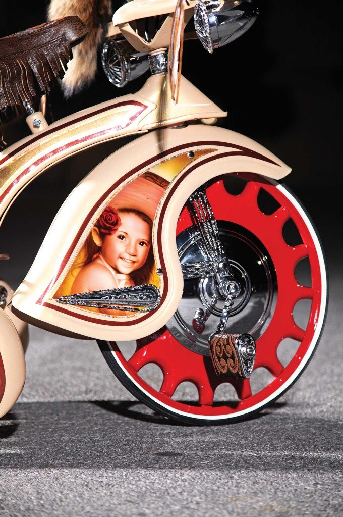 Artillery Wheels and Fulton Replica Visor make this one Bomb of a Trike.