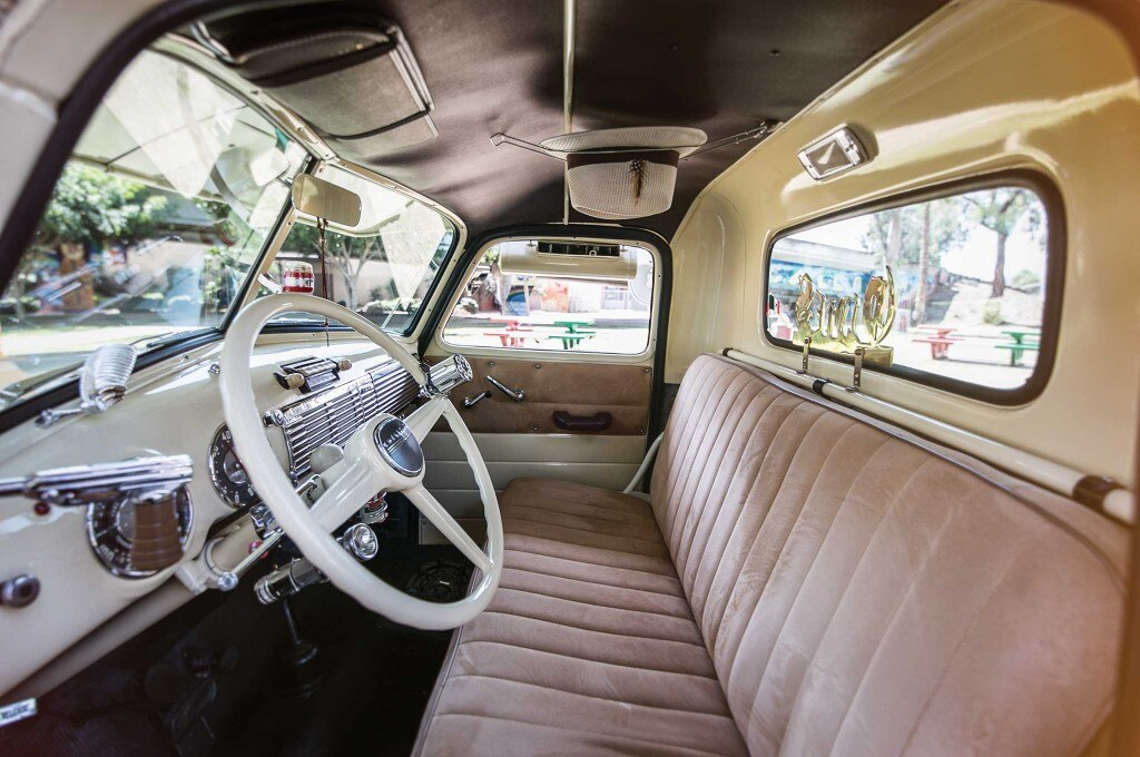 1949 chevy 3100 suede brown leather interior 005