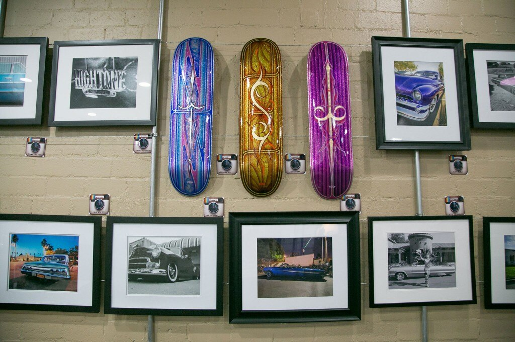 lowtography peonix annual art show photographs and sparkly skate boards