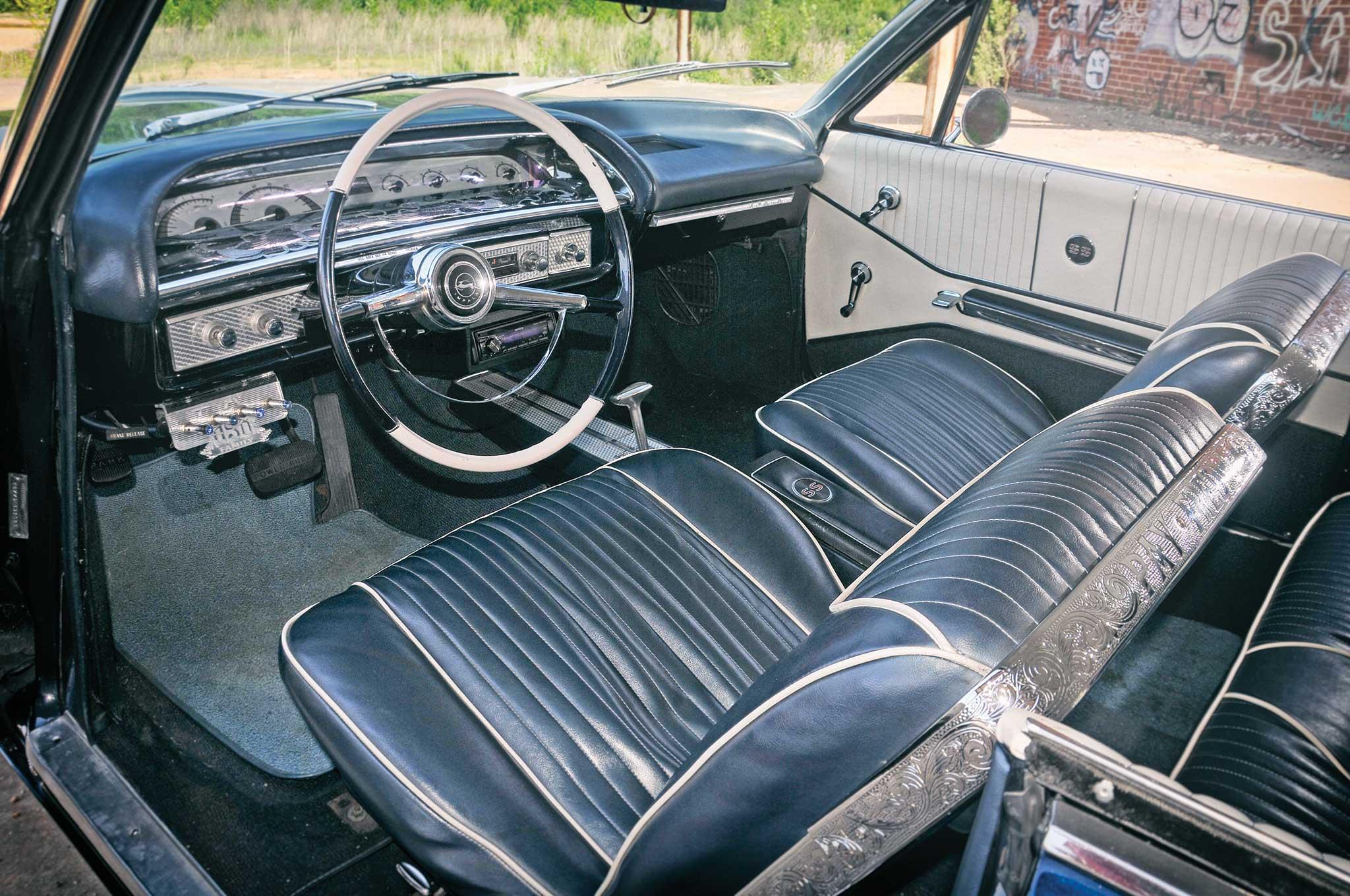 Chevrolet Impala Super Sport Blue And White Leather Interior