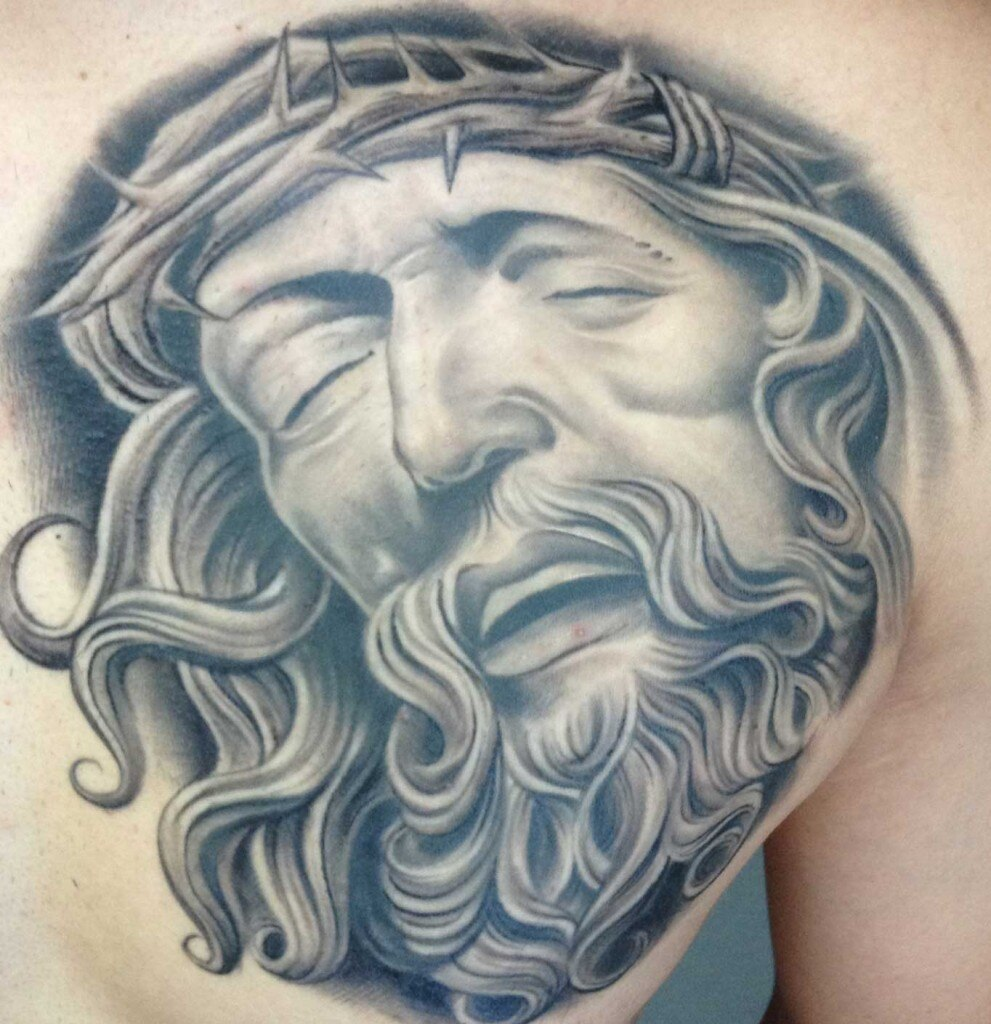 gilbert salas tattoo art black gray jesus christ thorn crown