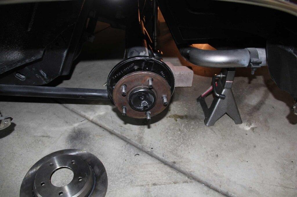gm model drum to disc brake conversion axle shaft reinstall 009