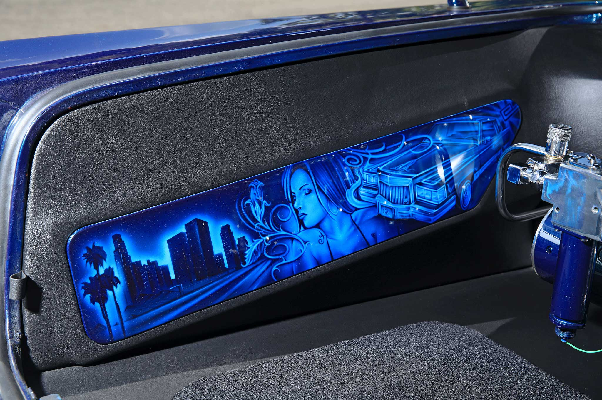 Lowrider airbrush art on cars images for Airbrush mural painting