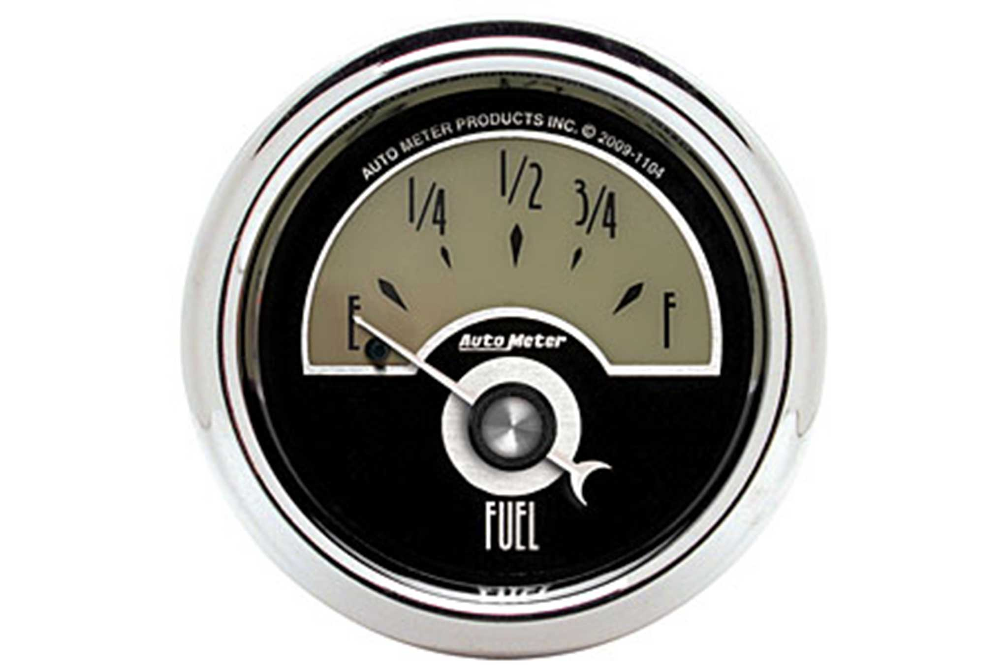 autometer logo. fuel, speed, volts, oil, water, and also a clock to let autometer logo