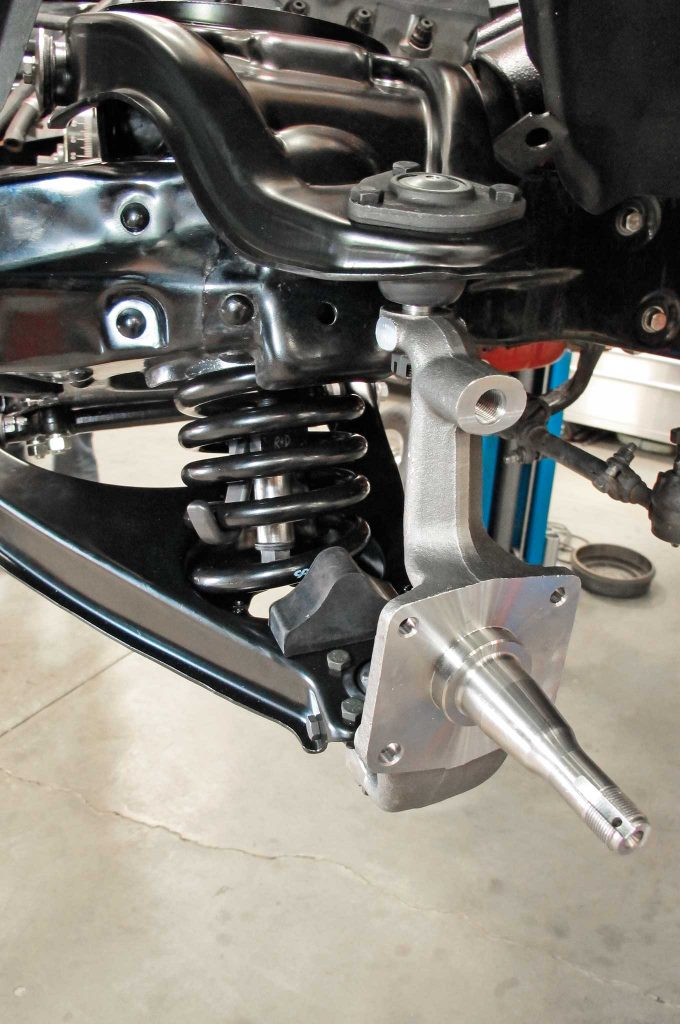 updating a tri five frontend with cpp oe style components spindle and steering arm