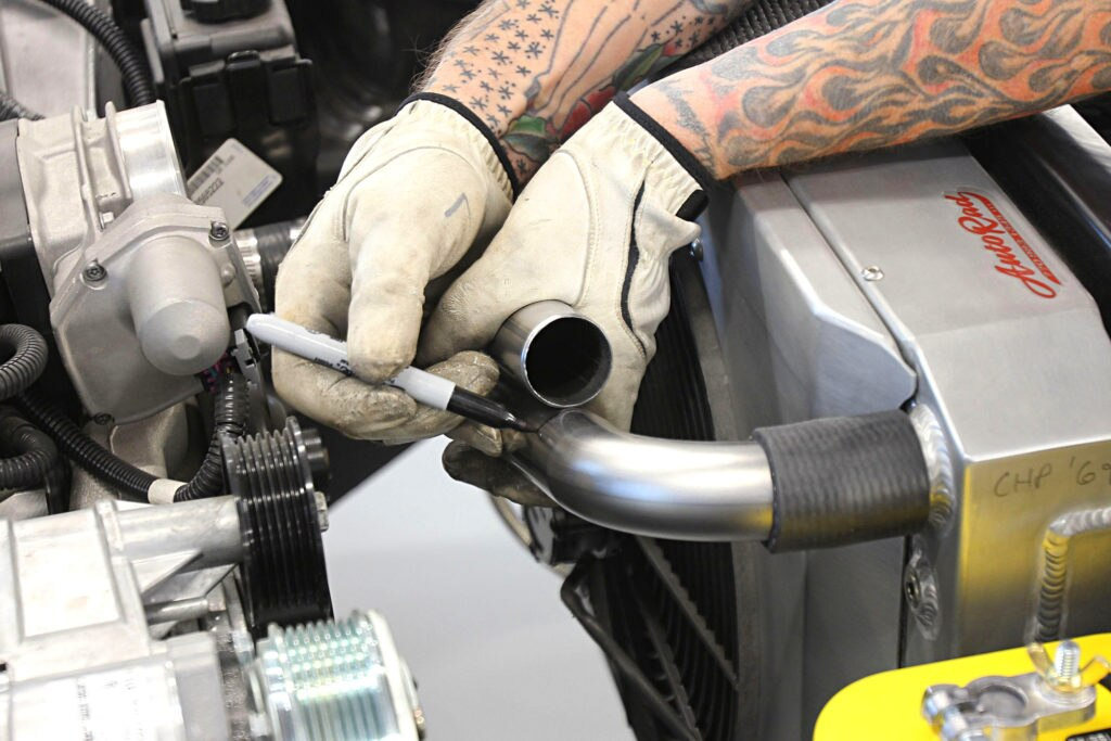 how to make custom coolant lines using exhaust tubing second coolant line piece
