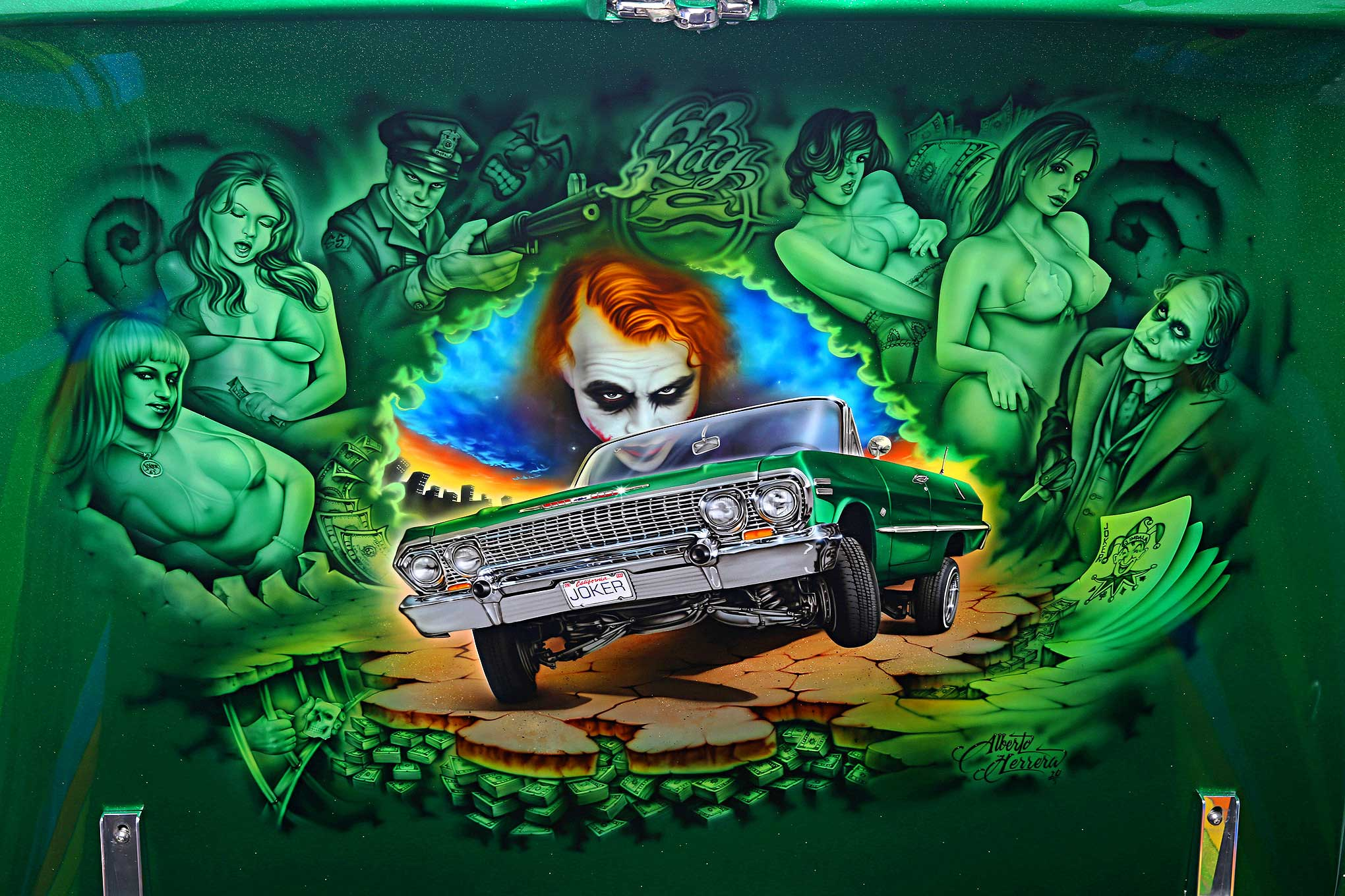 1963 chevrolet impala dark knight trunk lid mural lowrider for Dark knight mural