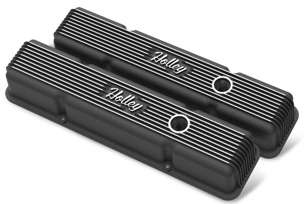 holley air cleanrs and valve covers black vintage short series valve cover
