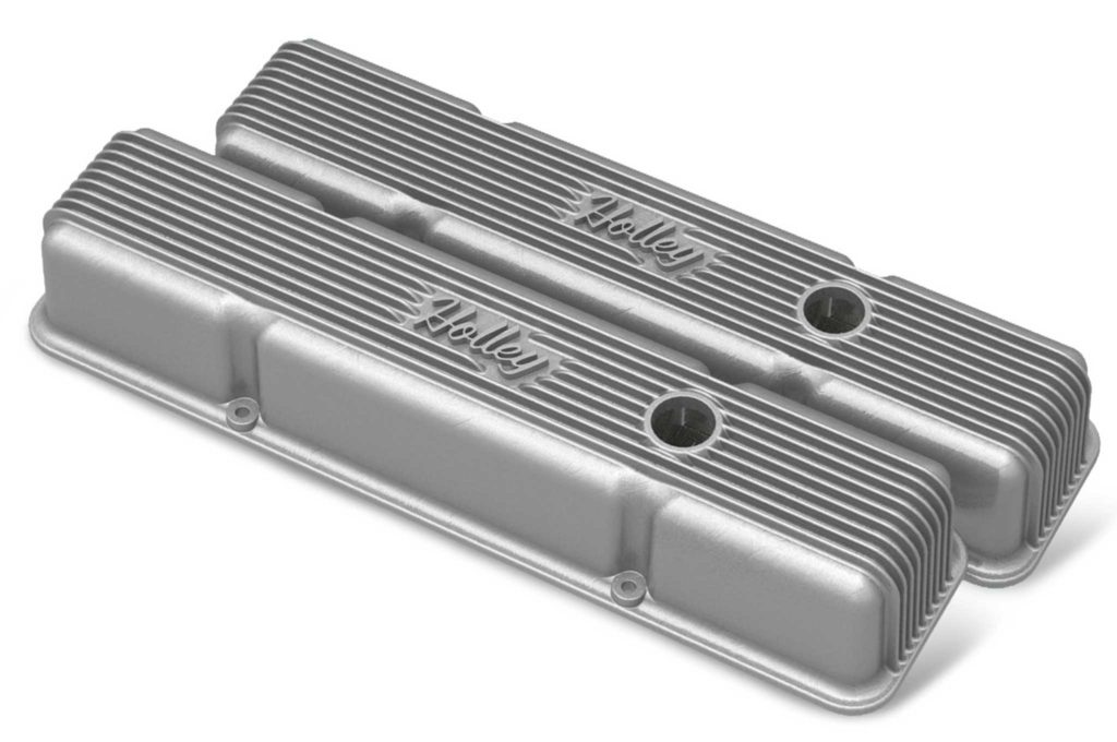 holley air cleanrs and valve covers raw polished vintage series short valve cover