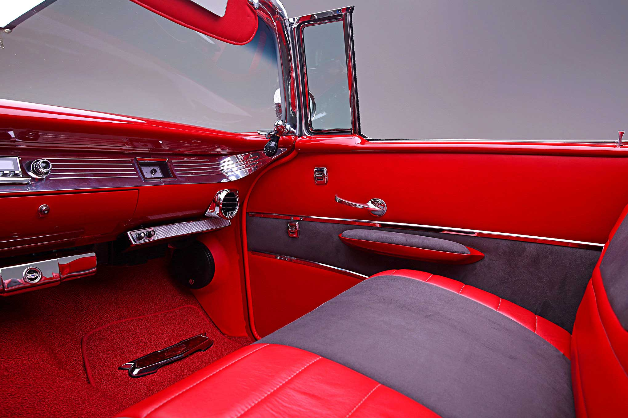1957 chevrolet bel air red leather gray suede interior lowrider. Black Bedroom Furniture Sets. Home Design Ideas