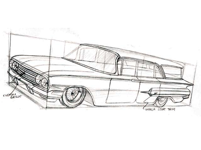 how to draw a 1960 chevy impala