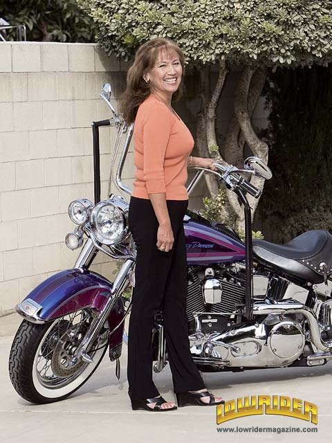 Marilyn Rodriguez with her 1995 Harley-Davidson Softail
