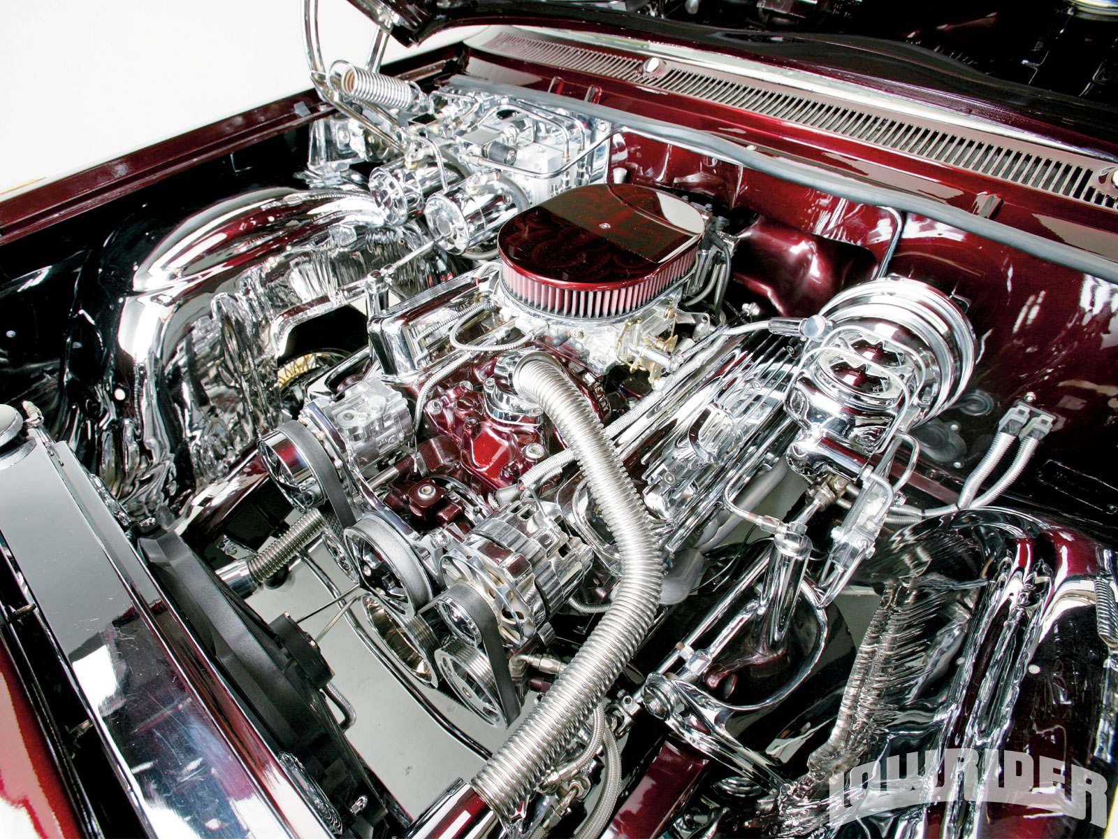 1966 Chevy Impala Engine Compartment Chevrolet Convertible Lowrider Magazine 1600x1200