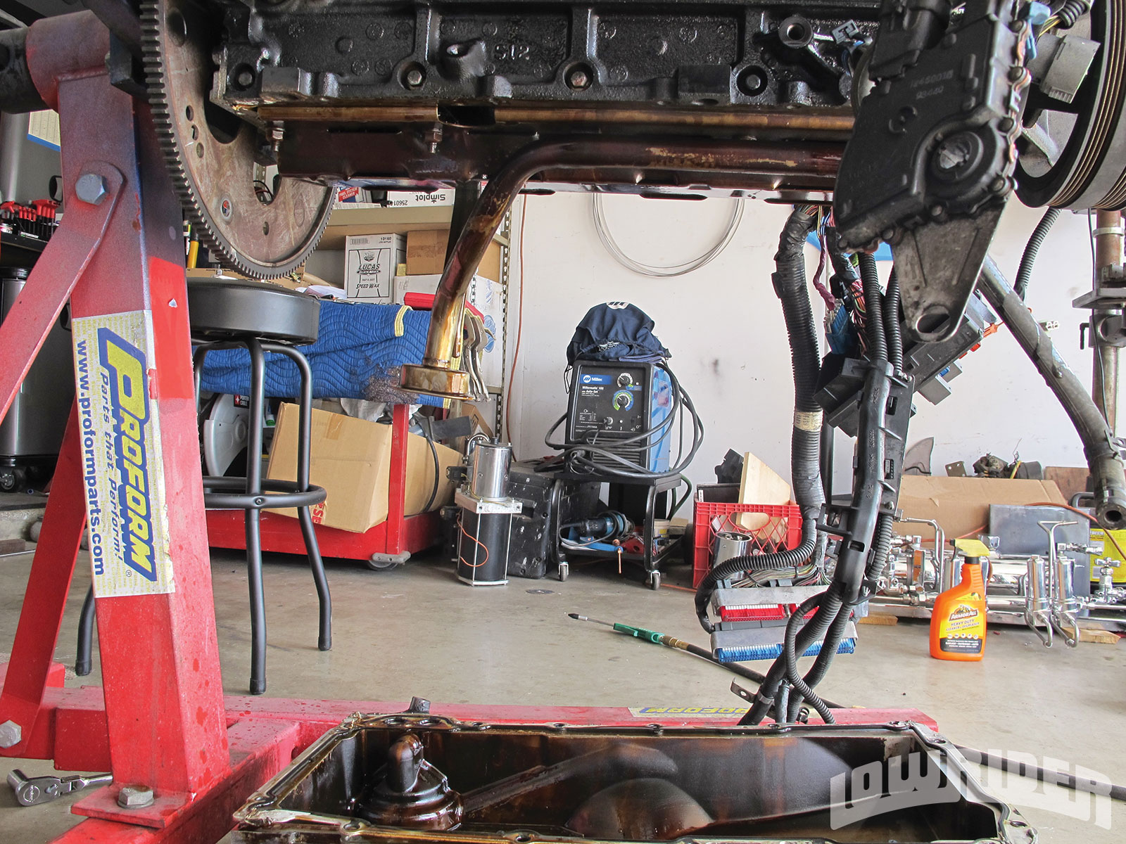 <strong>4</strong>. With this being a Truck/SUV engine, the oil pan hangs a little lower than we needed it to, so we are going to be swapping it out with a lower profile pan that doesn't hang below the frame.