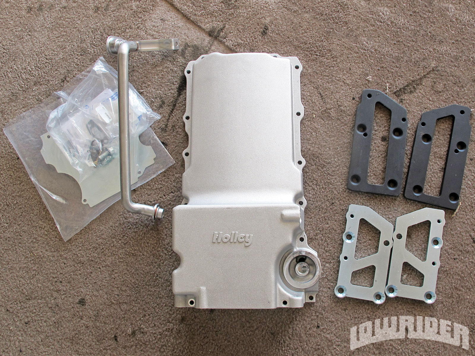 <strong>2</strong>. We started off by using the Holley's oil pan and motor mounts that will help with the bolt in.
