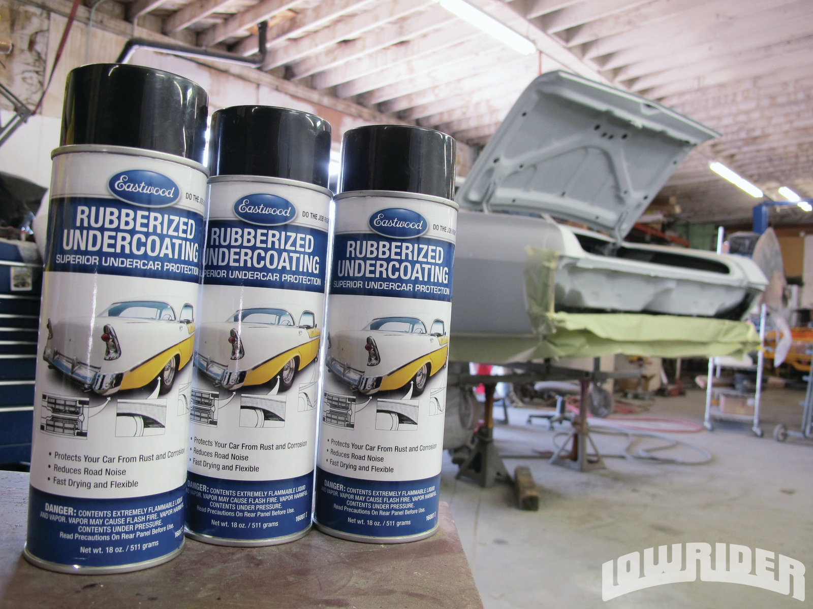 <strong>1</strong>. We used Eastwood undercoating to protect the floorboards of Project FearleSS.