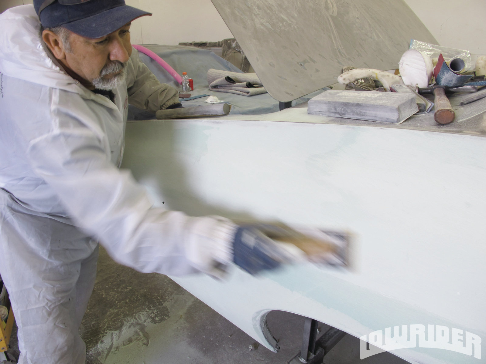 <strong>23</strong>. With bodywork, it's all about patience and the Coronel proved it after sanding on this section for hours.