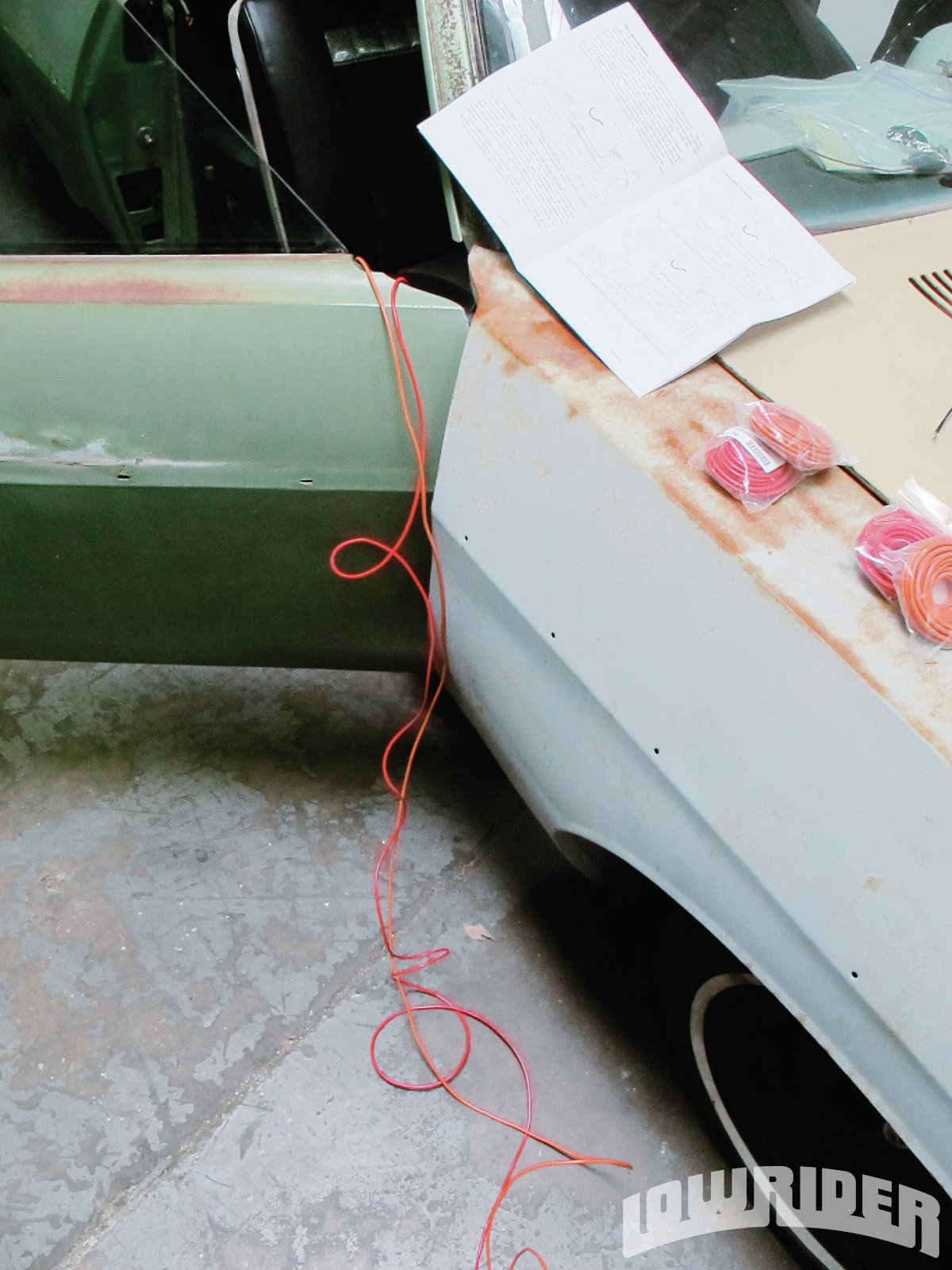 <strong>2</strong>. Since the power windows on the Caprice were high voltage, we needed to use 12-gauge wire.