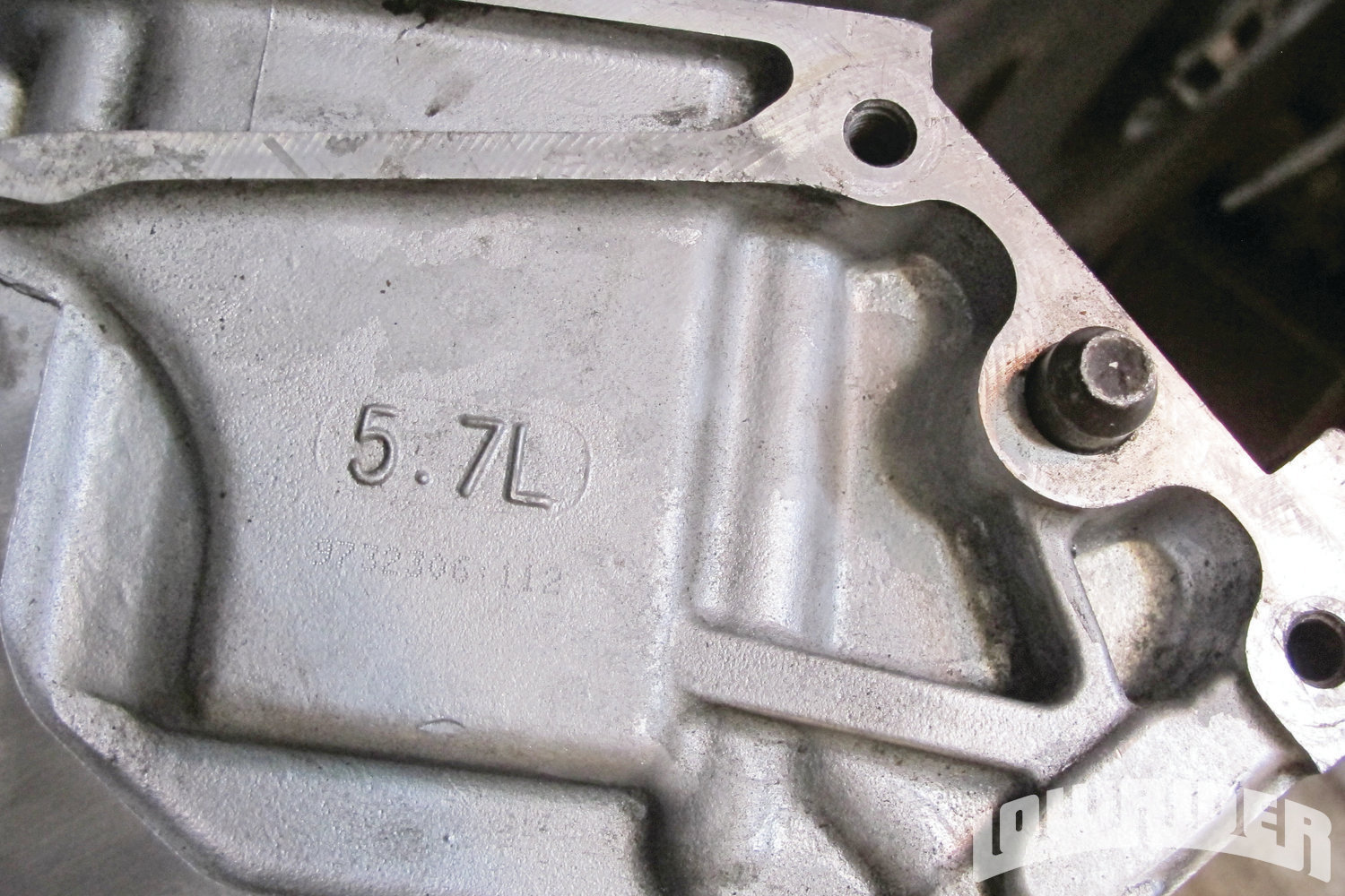 <strong>2</strong>. GM has always stamped their block with the model number. In this case, it's a 5.7 liter block assuring us that it is an LS1. When searching for a used engine, this is a good way to see what type of engine block you are looking at.