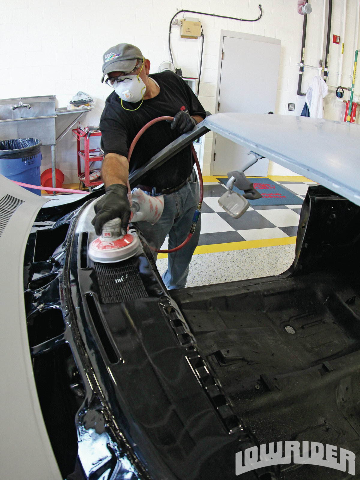 <strong>5</strong>. The dash was sprayed before showing up to the Axalta tech center, so it needed to be sanded for the additional paint to grip properly.
