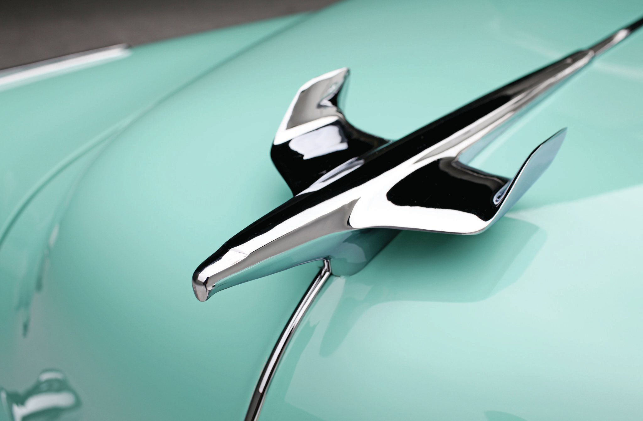 Chevrolet Bel Air Hood Ornament on 1954 Chevy Truck Engine
